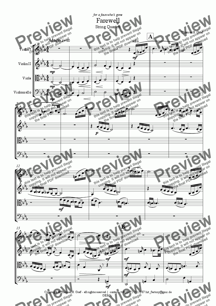 page one of Farewell (String Quartet)