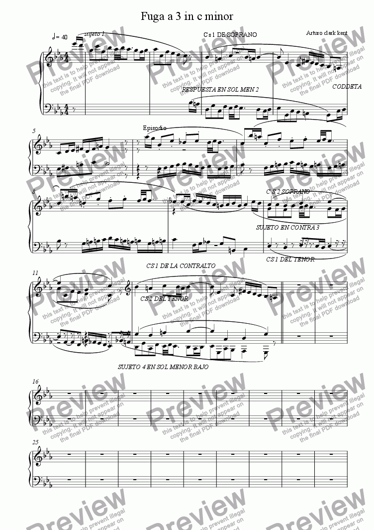 page one of Fuga a 3 in c minor