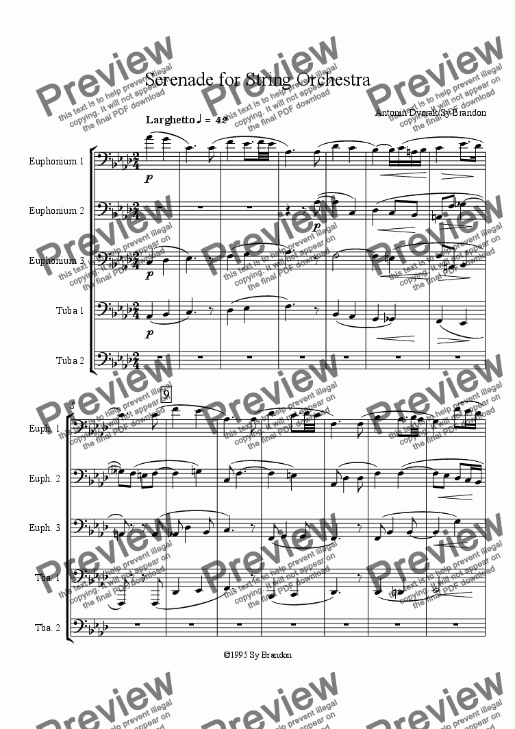 page one of Serenade for String Orchestra Movement 4