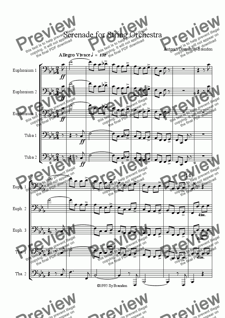 page one of Serenade for String Orchestra Movement 5