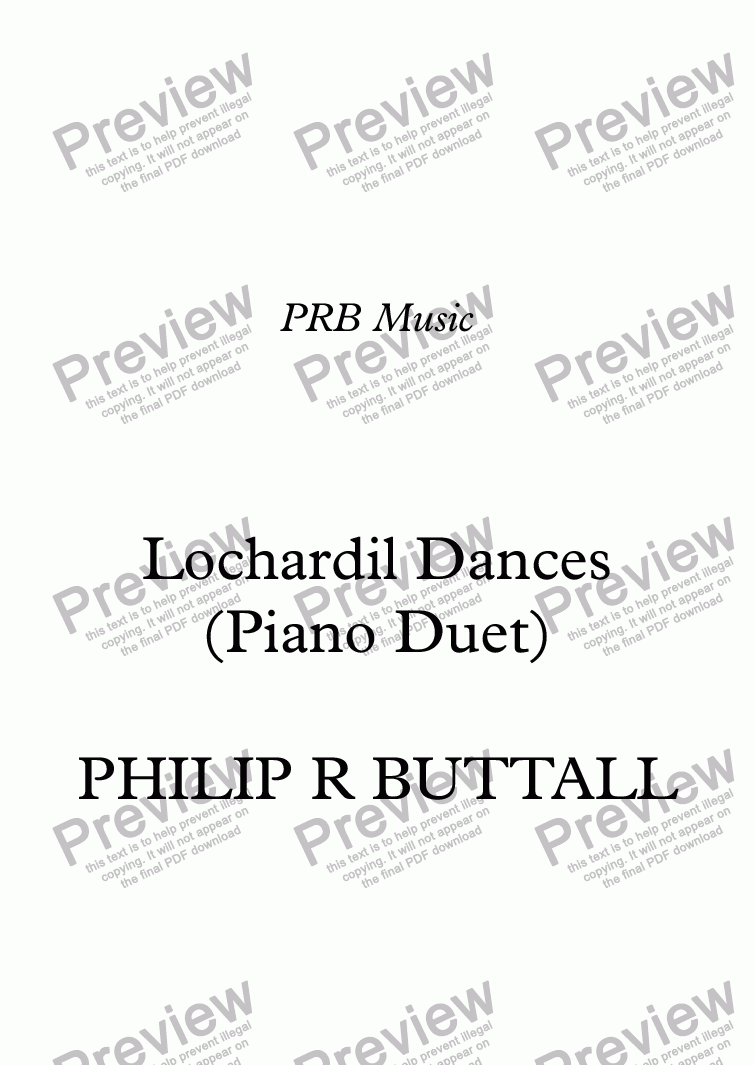 page one of Lochardil Dances (Piano Duet)ASALTTEXT
