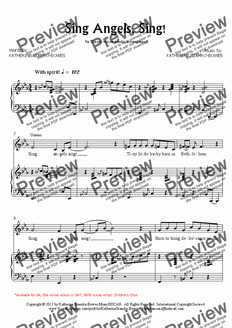 page one of Sing Angels, Sing! (Unis/2-Pt.)