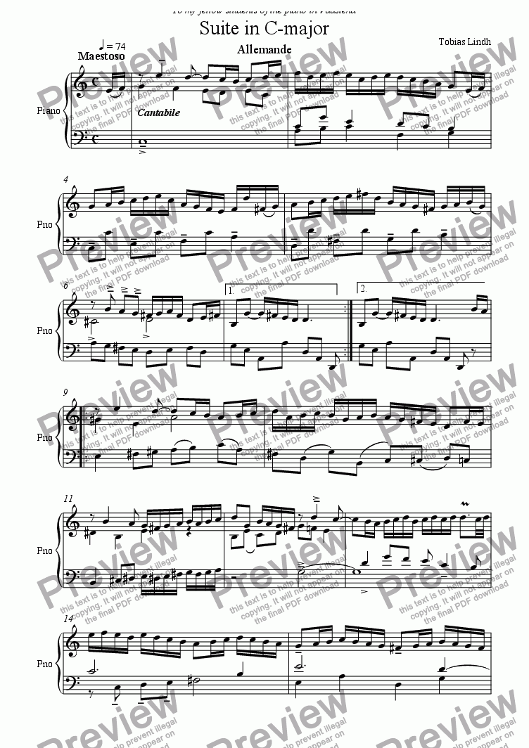 page one of Suite in C-major