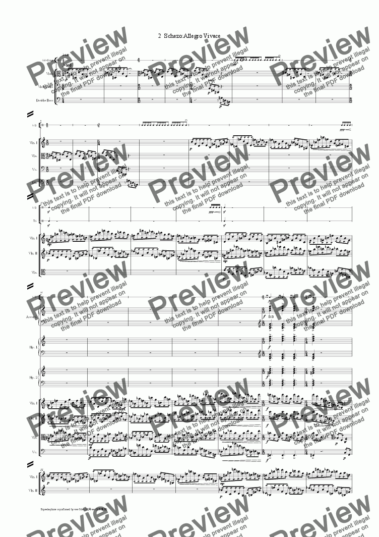 page one of Symphony no.5 in E-Flat Major:2 Schezo:Allegro VivaceASALTTEXT