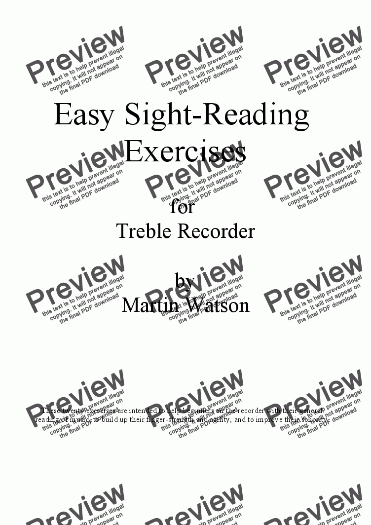 Easy Sight-Reading Exercises for Treble Recorder  for Solo instrument  (Treble Recorder) by Martin Watson - Sheet Music PDF file to download