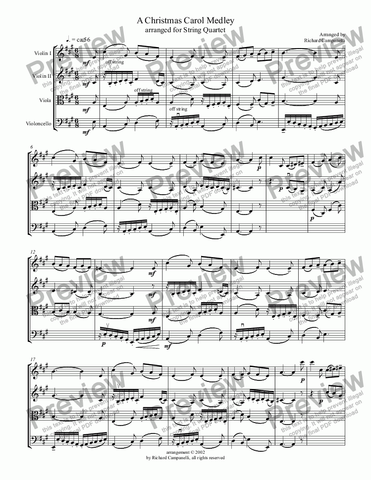 page one of A Christmas Carol Medley for String QuartetASALTTEXT