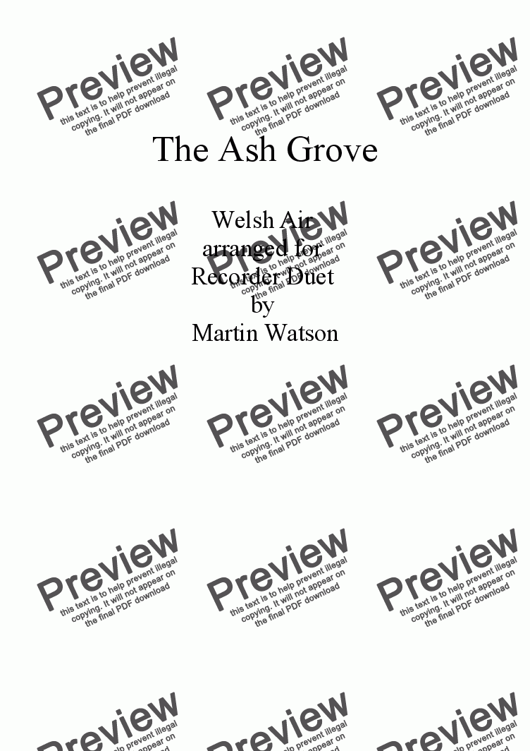 page one of The Ash Grove for Recorder Duet