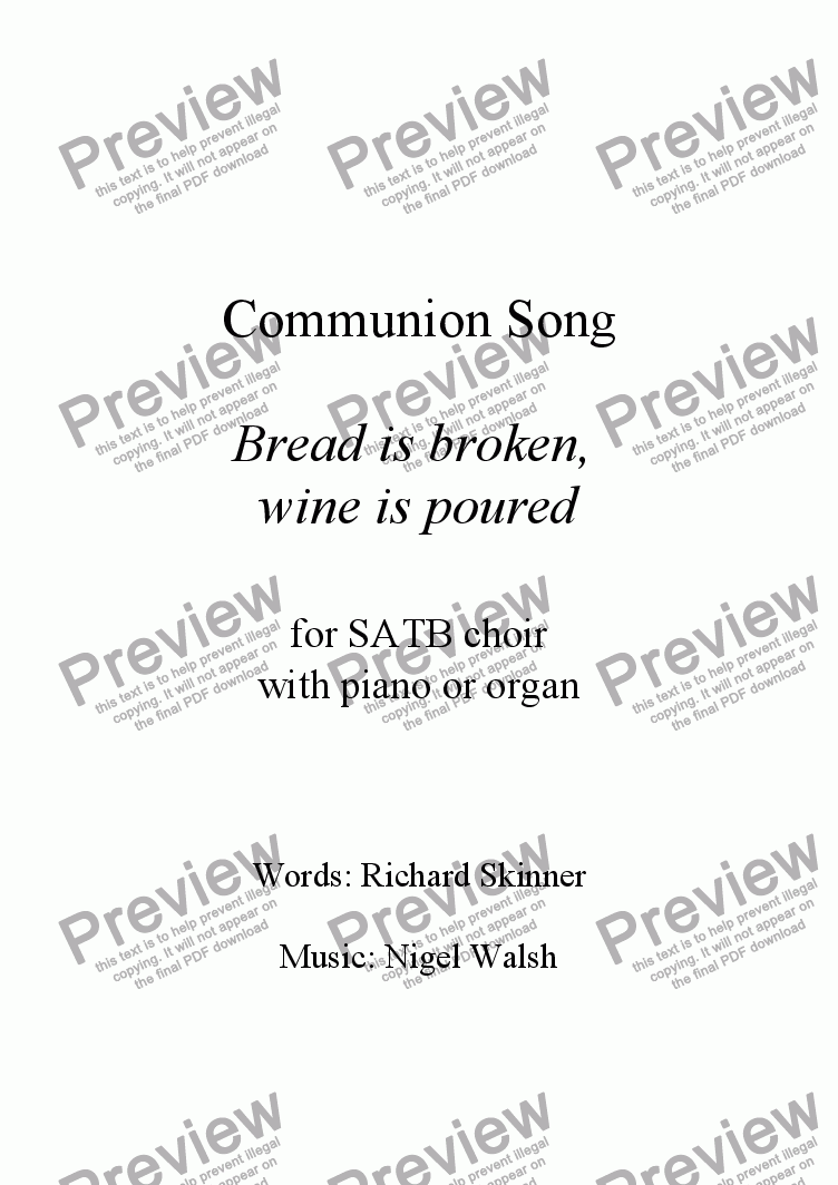 page one of Bread is broken, wine is poured - Communion song