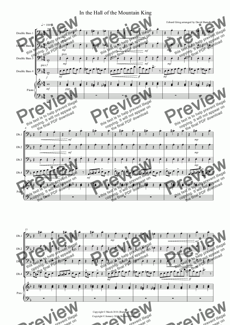 page one of In the Hall of the Mountain King for Double Bass Quartet