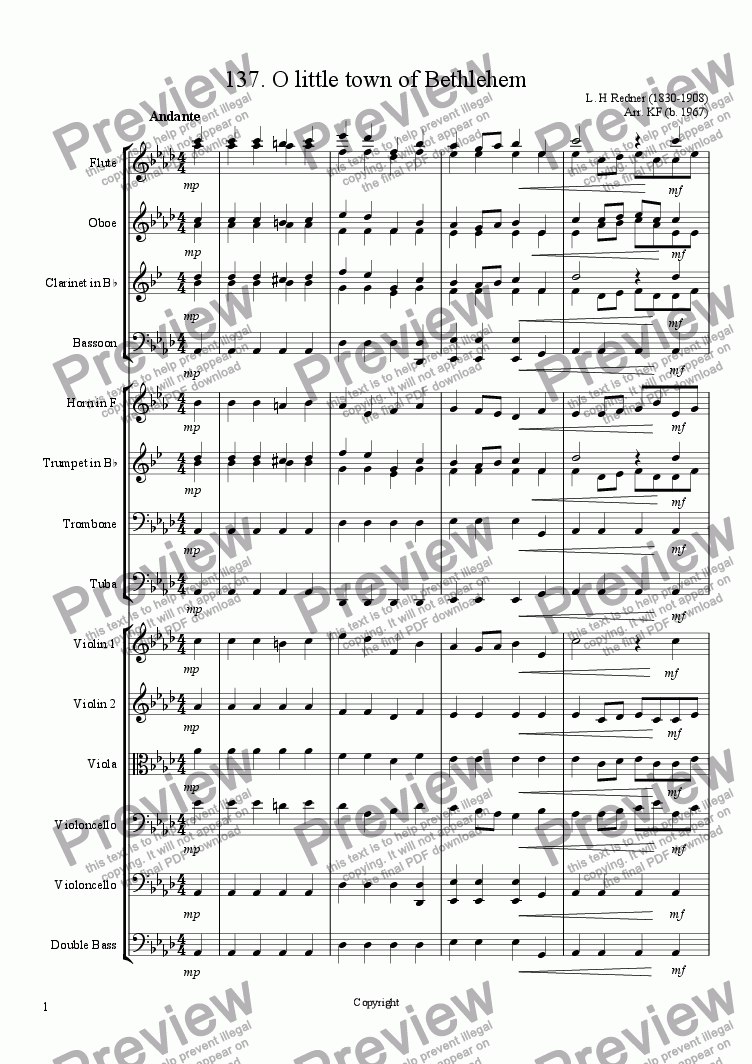 page one of O little town of Bethlehem - Orchestra