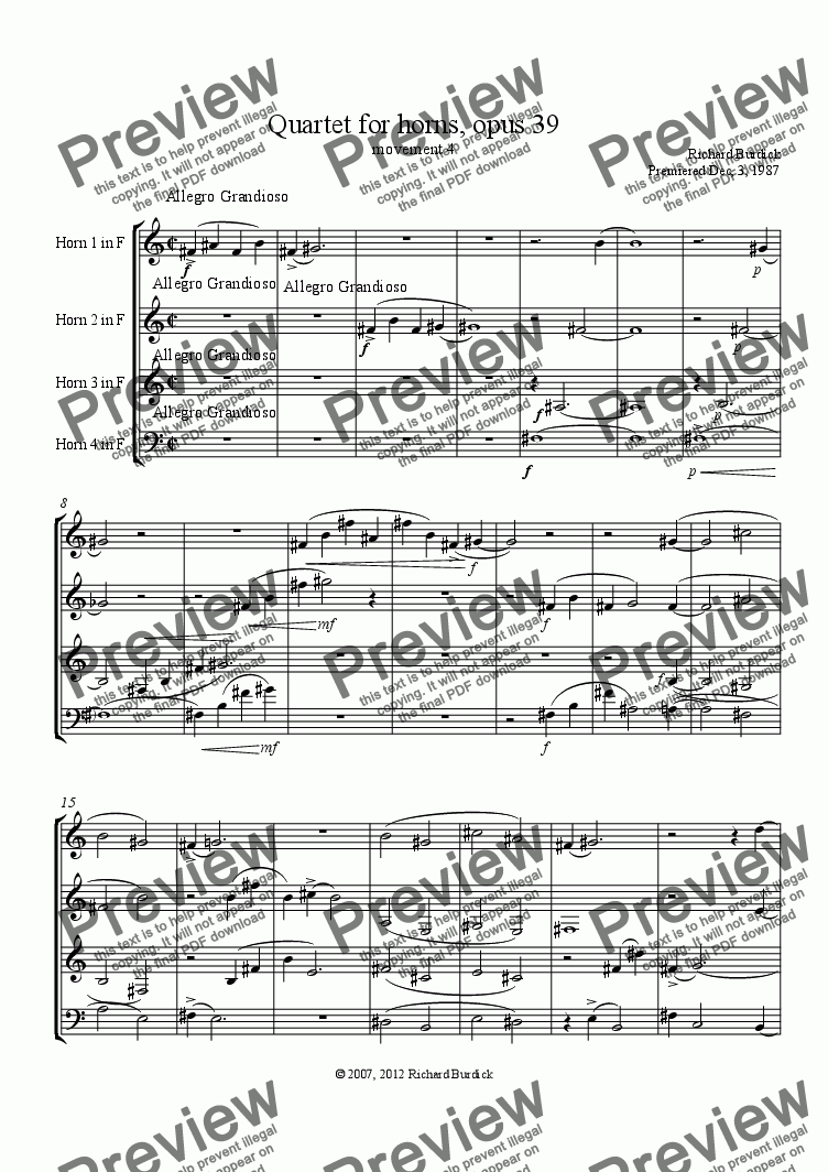 page one of Quartet for horns, opus 39