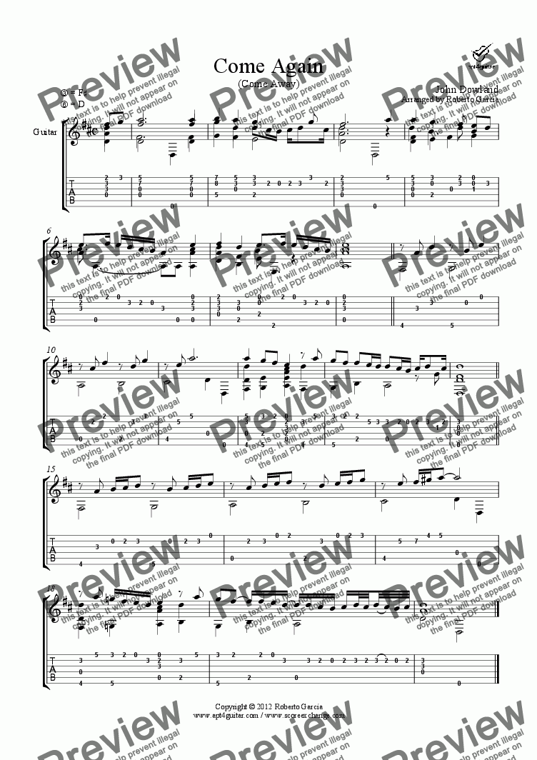 page one of Come Again for solo guitar