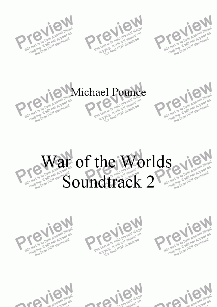 page one of War of the Worlds Soundtrack 2