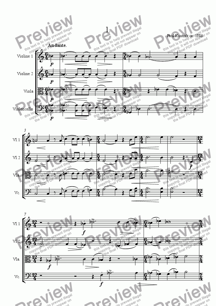 page one of String Quartet 1986