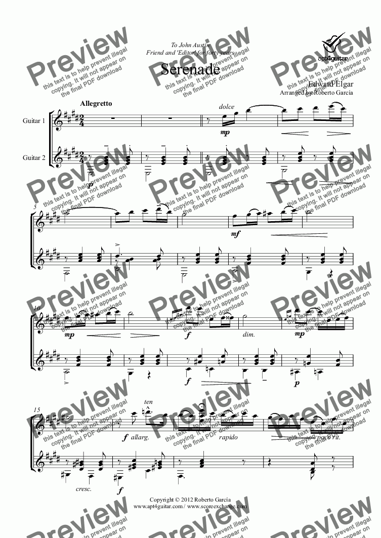 page one of Serenade for guitar duetASALTTEXT