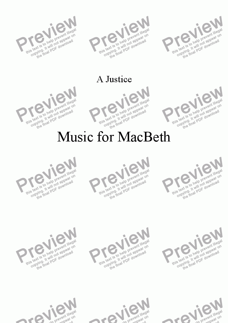 page one of Music for MacBethASALTTEXT
