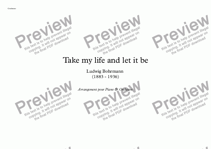page one of Take my life and let it be (Version B)