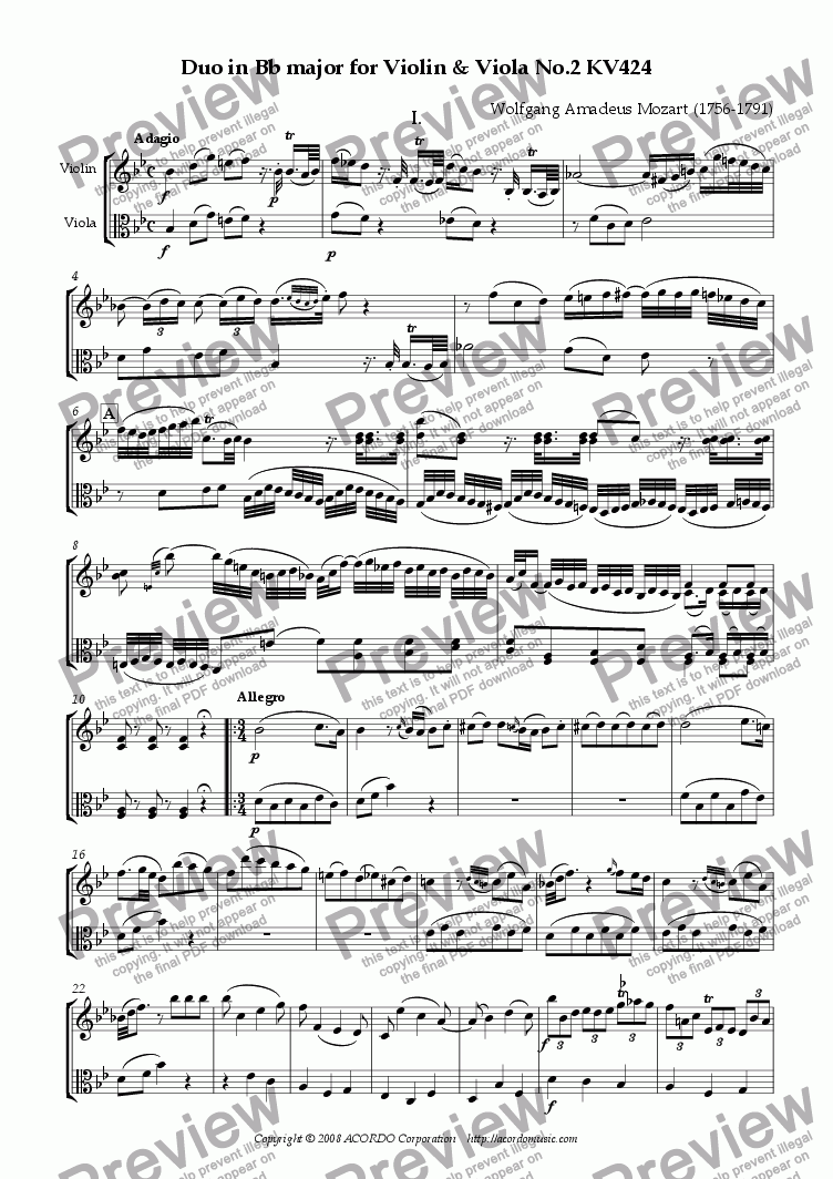 page one of Duo in Bb major for Violin & Viola No.2 KV424ASALTTEXT