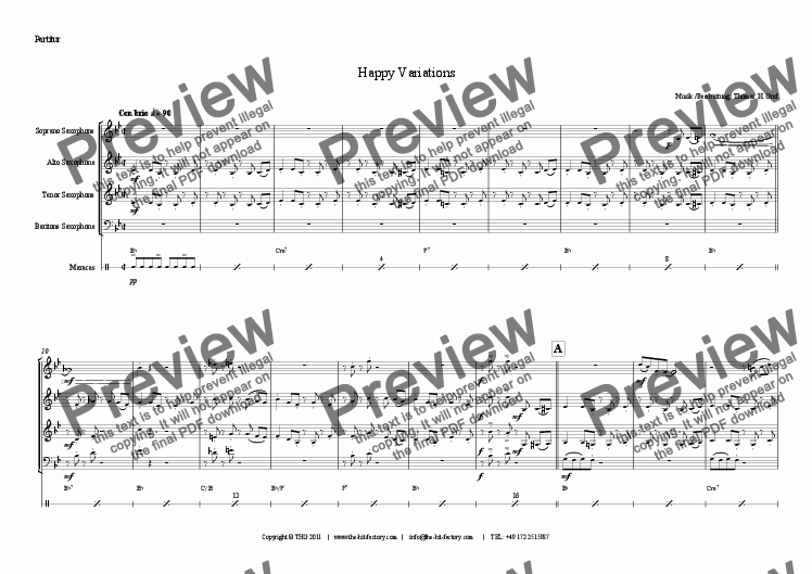 page one of Happy Variations - Saxophone Quartet