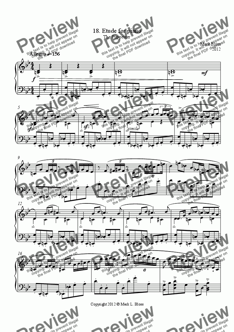 page one of 18. Etude for pianoASALTTEXT