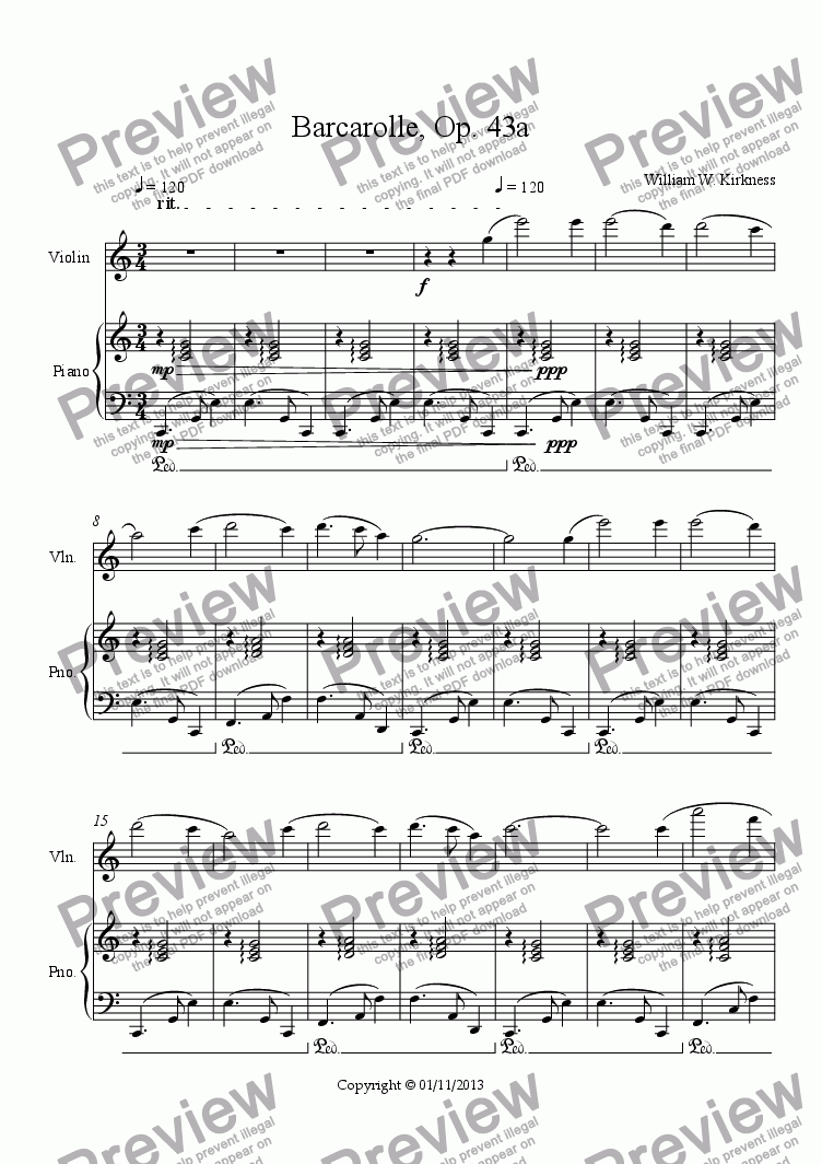 page one of Barcarolle, Op. 43a
