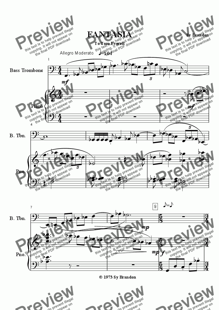 page one of Fantasia for Bass Trombone and Piano