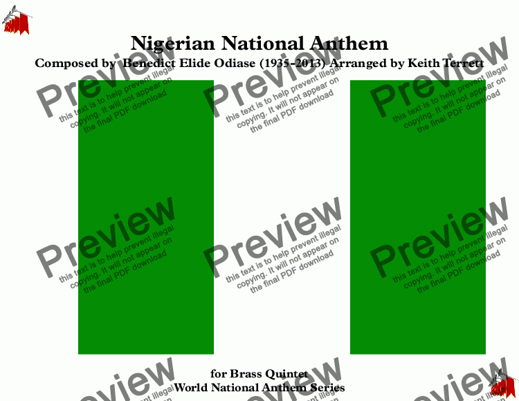 page one of Nigerian National Anthem for Brass Quintet (MFAO World National Anthem Series)