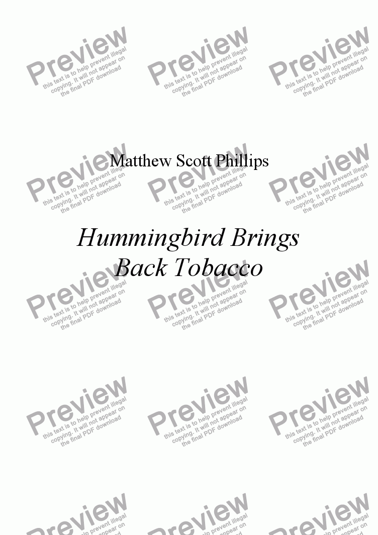 page one of Hummingbird Brings Back Tobacco