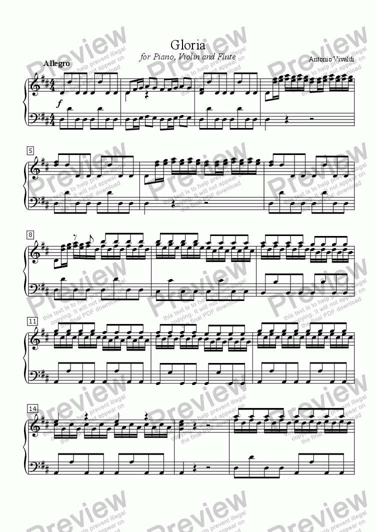 page one of Gloria (VIVALDI) Duet arr. for two C instruments (e.g., Violin and Flute) with Piano accompaniment, arr. by Pamela Webb Tubbs
