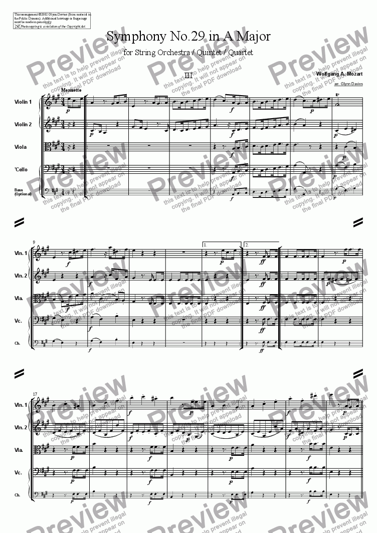 Symphony No29 3 Menuetto For String Quartet By Wolfgang A Mozart Sheet Music Pdf File To Download