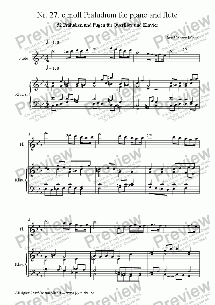 page one of Nr. 27: c moll Präludium for piano and flute