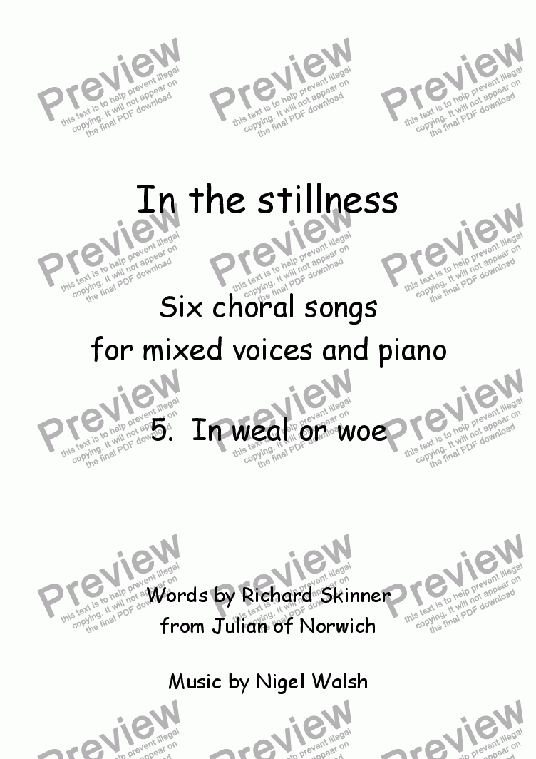 page one of In the stillness: 5. In weal or woe