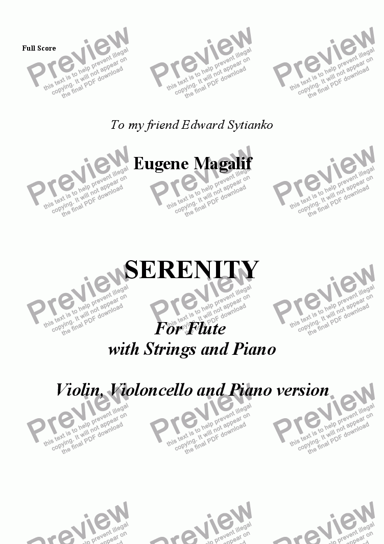 page one of SERENITY.Violin, Cello, Piano