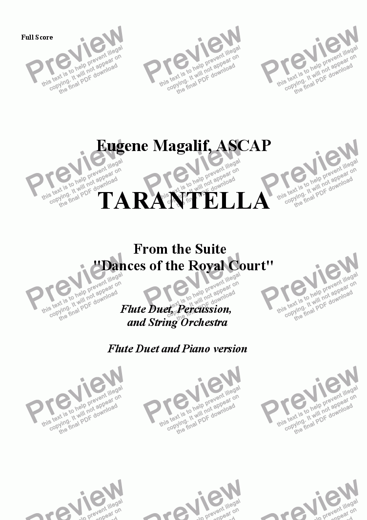 page one of TARANTELLA. 2 Flutes & Piano