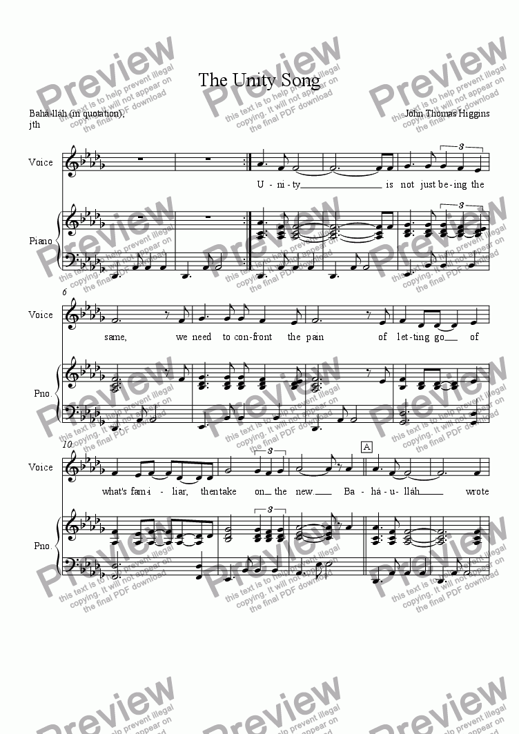 The Unity Song for Voice + keyboard by John Thomas Higgins - Sheet Music  PDF file to download