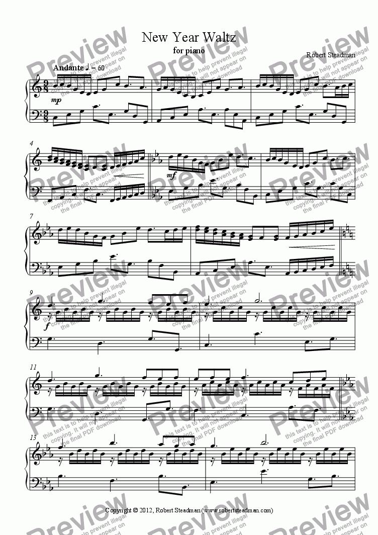 page one of New Year Waltz