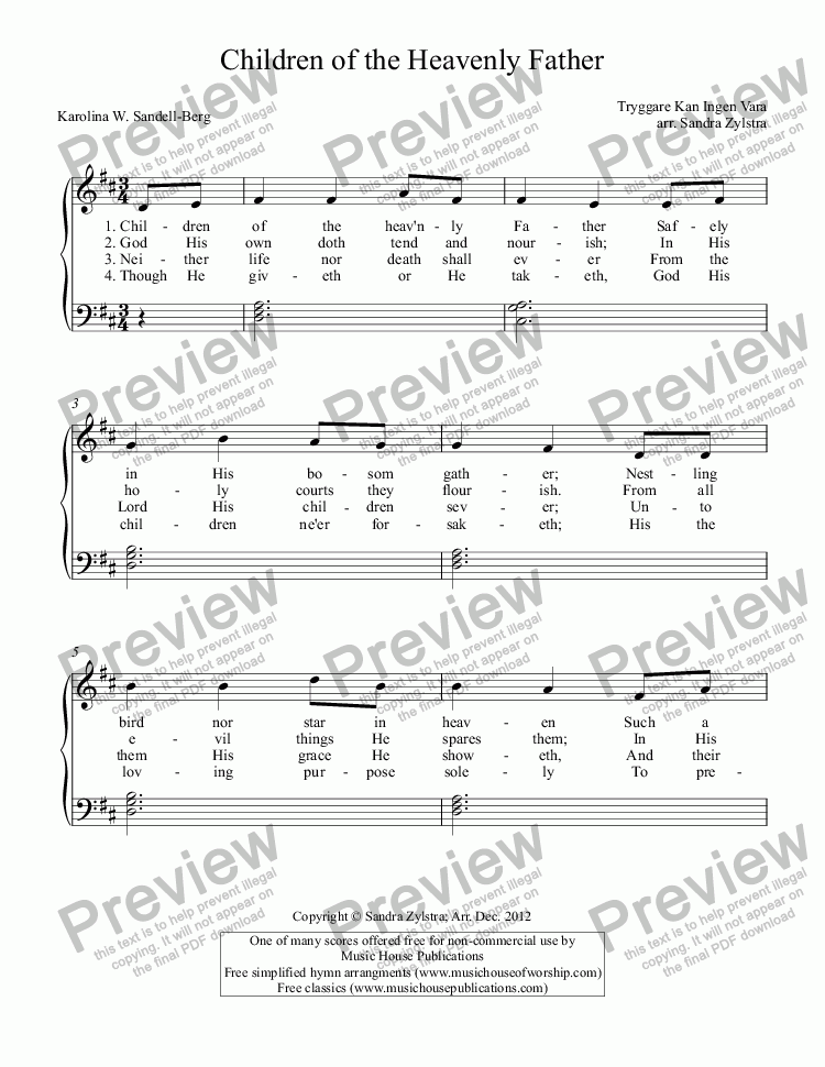 Children Of The Heavenly Father For Voice Keyboard By Tryggare Kan Ingen Vara Sheet Music Pdf File To Download