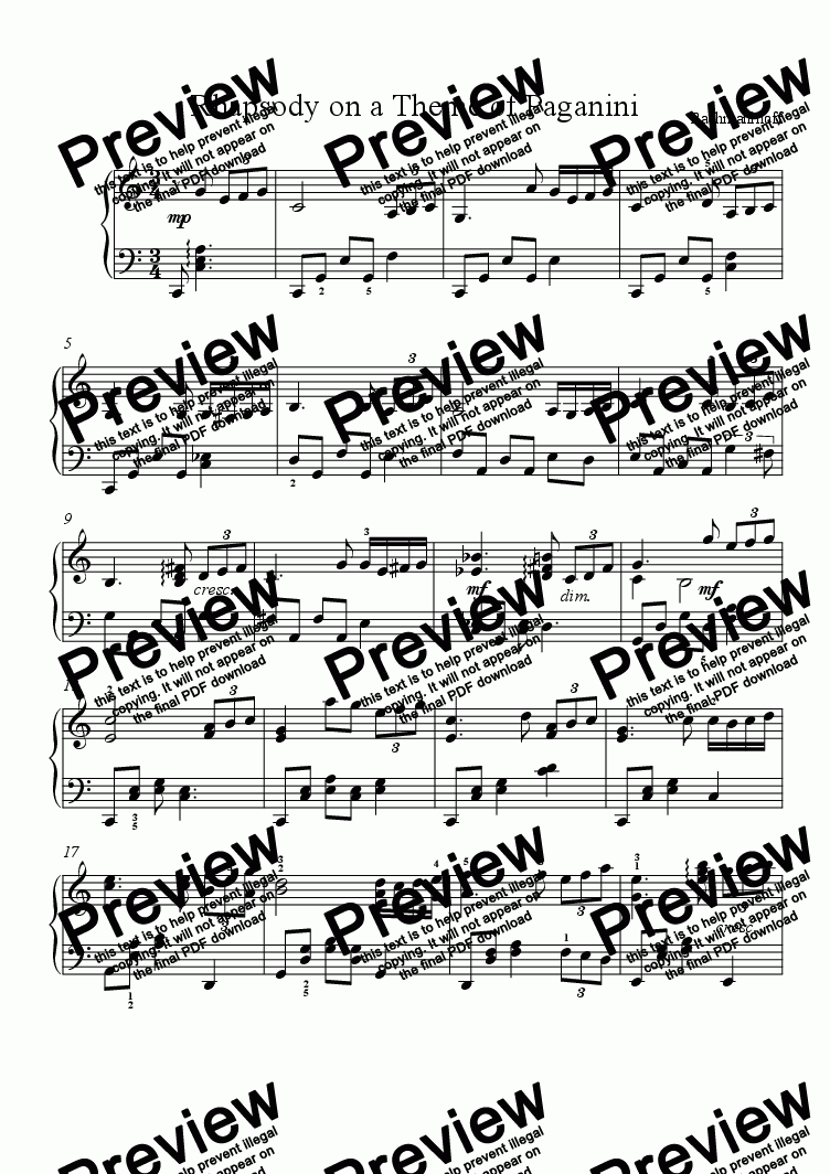 Rhapsody on a Theme of Paganini (intermediate piano) for Solo instrument  (Piano) by Rachmaninoff - Sheet Music PDF file to download