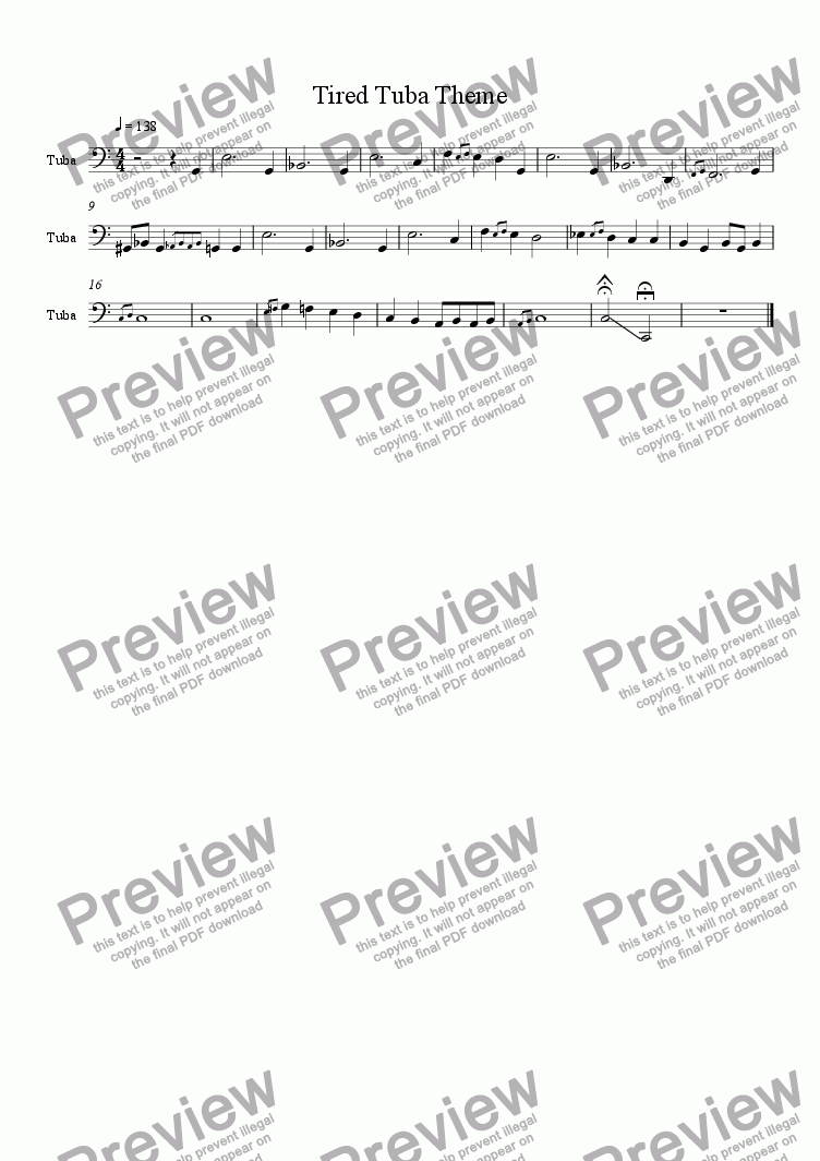 page one of Tired Tuba Theme