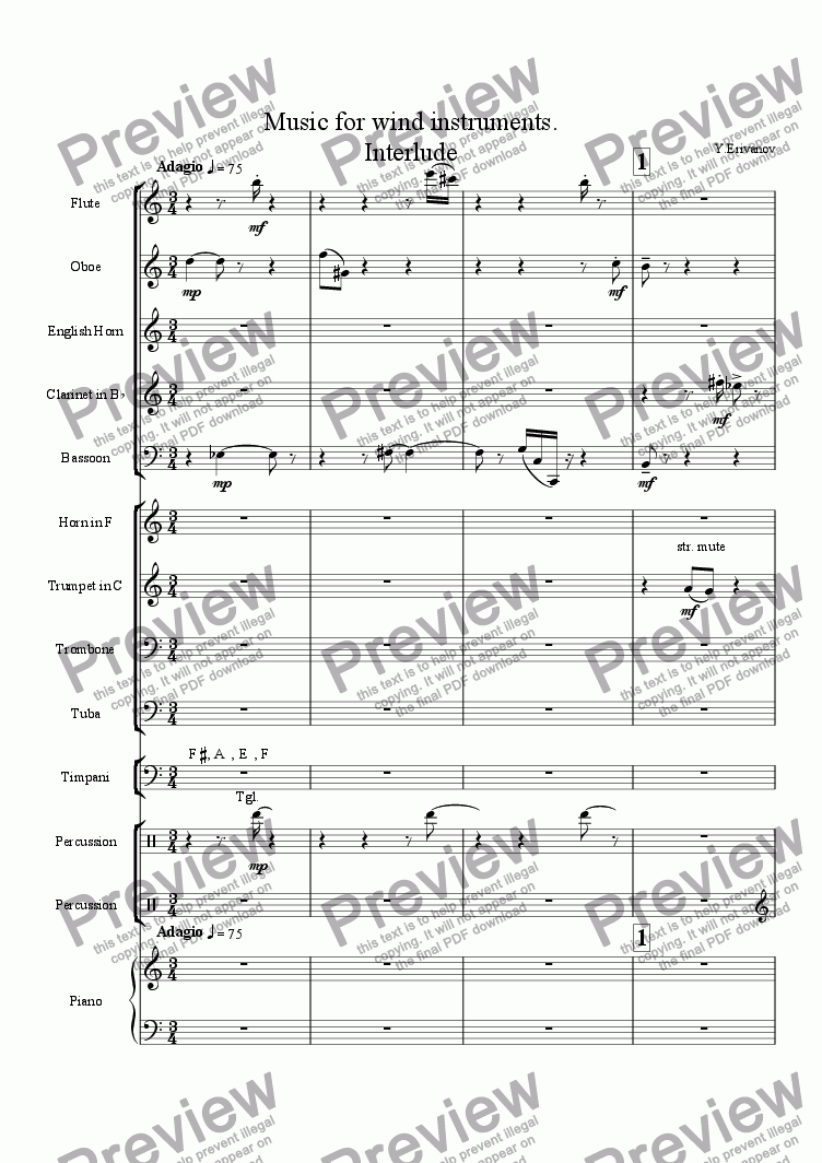 page one of Music for wind instruments. Interlude