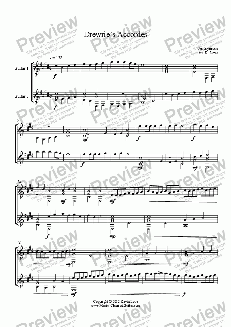 page one of Drewrie's Accordes (Guitar Duo)