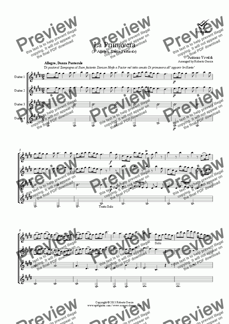 page one of La Primavera (3. Pastorale) for guitar quartetASALTTEXT