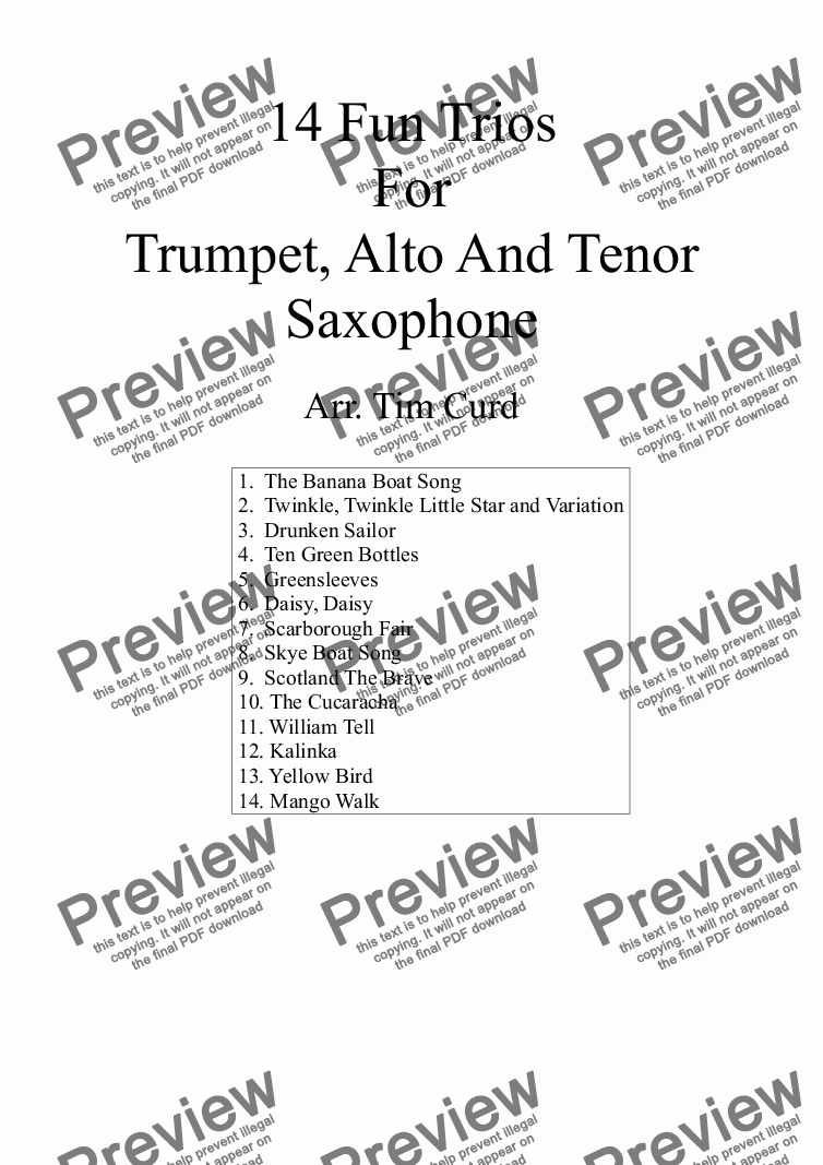 page one of 14 Fun Trumpet Trios For Trumpet, Alto And Tenor Saxophone.