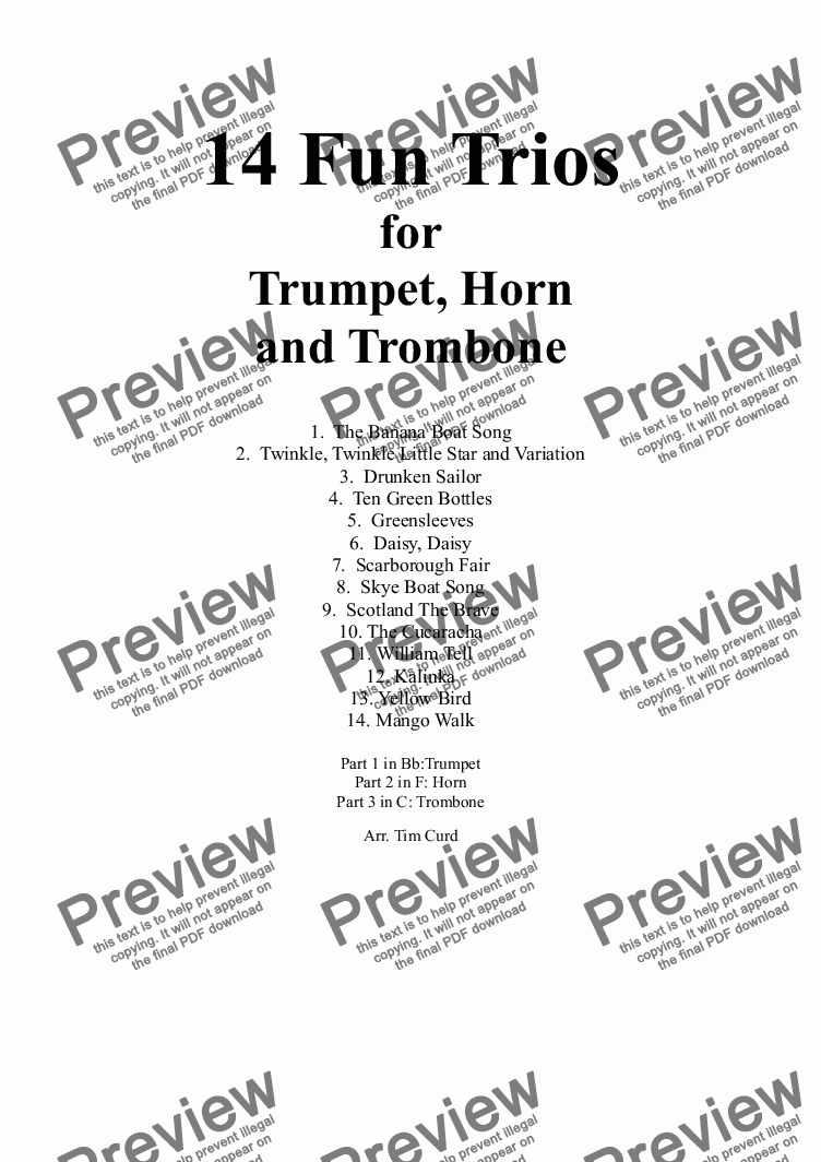 page one of 14 Fun Trios For Trumpet, French Horn And Trombone.
