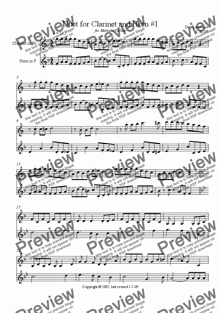 page one of Duet for Clarinet and Horn #1