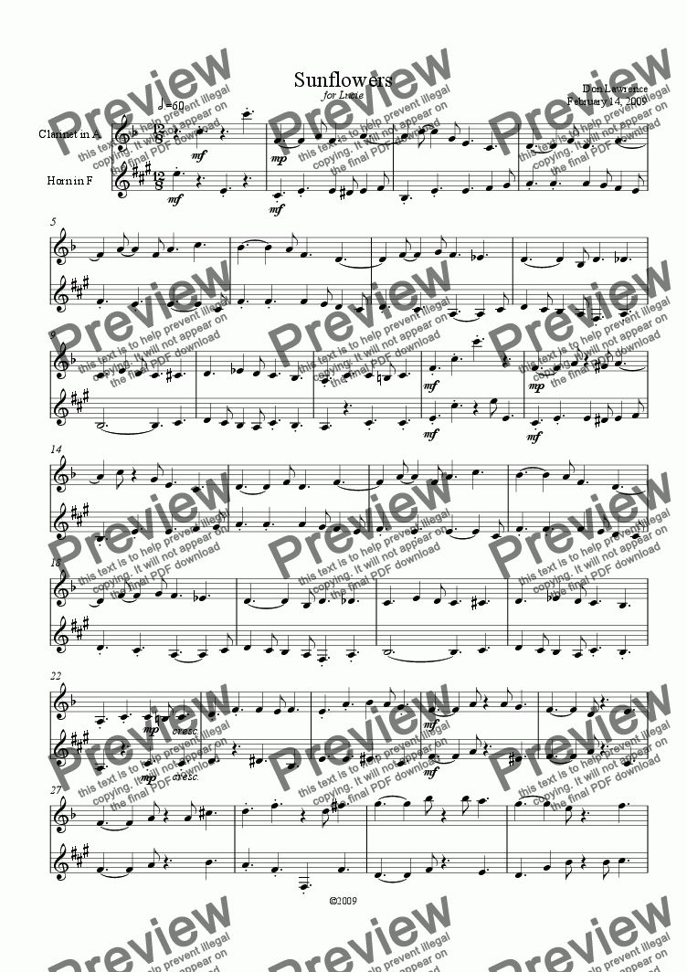 page one of Sunflowers (clarinet and horn)