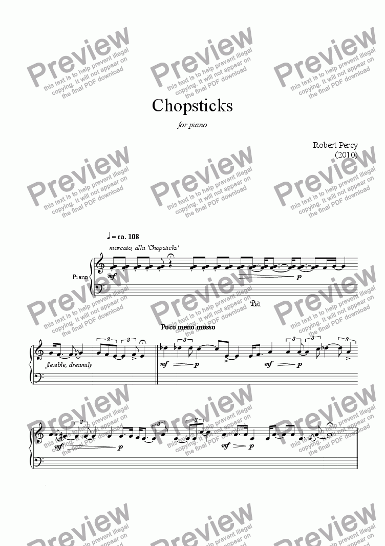 Chopsticks For Solo Instrument Piano By Robert Percy 2010 Sheet Music Pdf File To Download