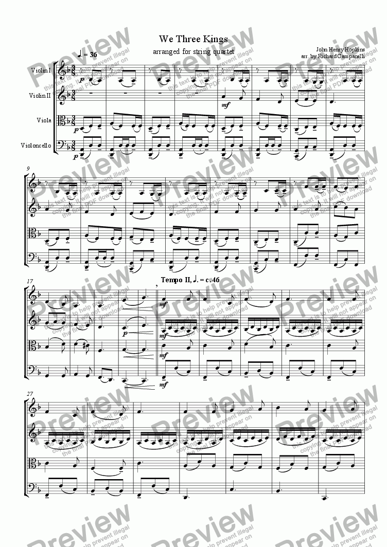 page one of We Three Kings arr. for string quartet
