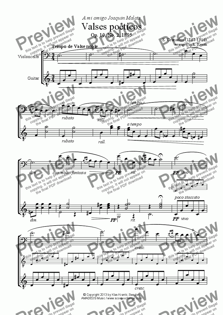 page one of Valses poéticos No. 2 for cello and guitarASALTTEXT