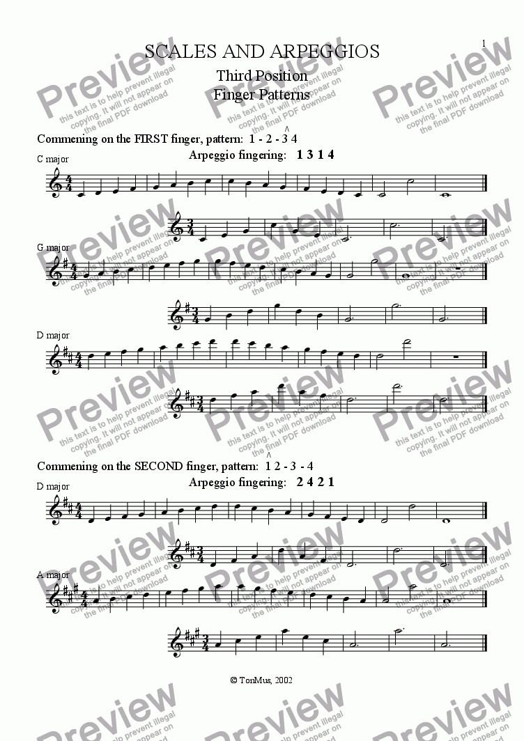 Violin Scales (3rd position) for Solo instrument (Solo Violin) by Tony  Kitchen - Sheet Music PDF file to download